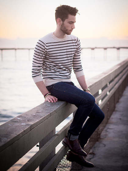 Edward Honaker - A.P.C. Sweater, Wings + Horns Jeans, Bostonian Shoes - Ready lets go