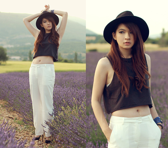 Anastasia Siantar - H&M Cropped Tank Top, White Pants, Charlotte Olympia Dolly Pumps - Lavender field