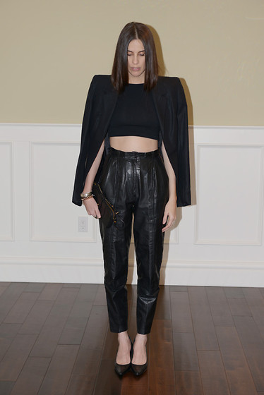 Melissa Araujo - Melissa Araujo Blazer, American Apparel Crop Top, Vintage Leather Pants, Calvin Klein Leather Clutch, Club Monaco Pumps - Leather Rules