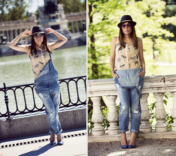 Barbara Crespo - Mint & Berry Blouse, Hakei Hat, Zara Denim Jumpsuit, Mai Piu Shoes, Mango Aviator Sunglasses - Denim jumpsuit
