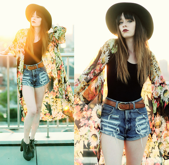 Rachel-Marie Iwanyszyn - Misskl Floral Kimono, Denim Shorts, Jeffrey Campbell Clayton Platform, Leather Hat, Vintage Belt - THE EVENING SUN.