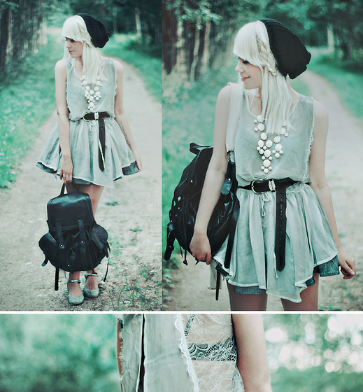 Kerti P. - Romwe Beanie, Frontrowshop Slit Back Sheer Dress, Frontrowshop Bag, Ebay Necklace, Vintage Belt, Shoes - You're just a quiet kid.