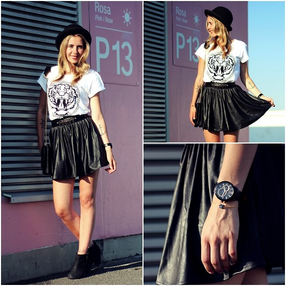 Herz über Kopf - Asos Leather Skirt, Review Shirt, Detomaso Watch, Vagabond Shoes - Leather Skirt