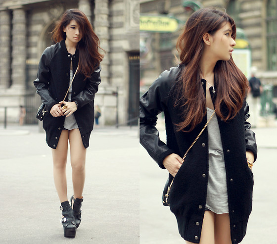 Anastasia Siantar - Oversized Shirt, Long Bomber Jacket, Jeffrey Campbell Alexandria Shoes - Street // Giveaway on my blog