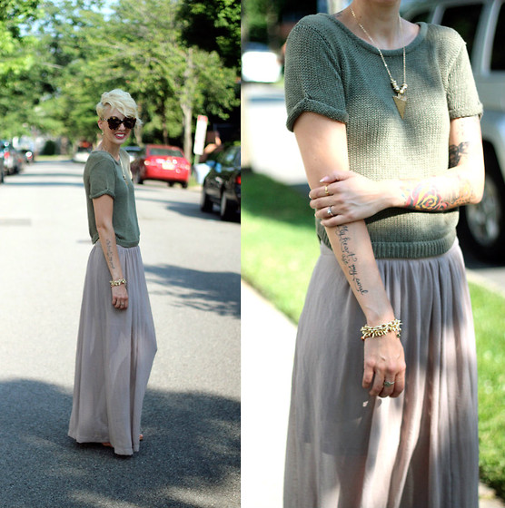 Erin Marie - H&M Top, H&M Skirt, Stella And Dot Bracelets - Nuetrals