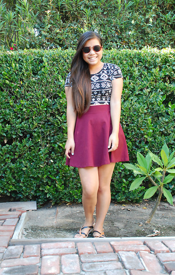 Erika Eng - American Apparel Sunglasses, Forever 21 Crop Top, H&M Circle Skirt, Sandals - California Girl