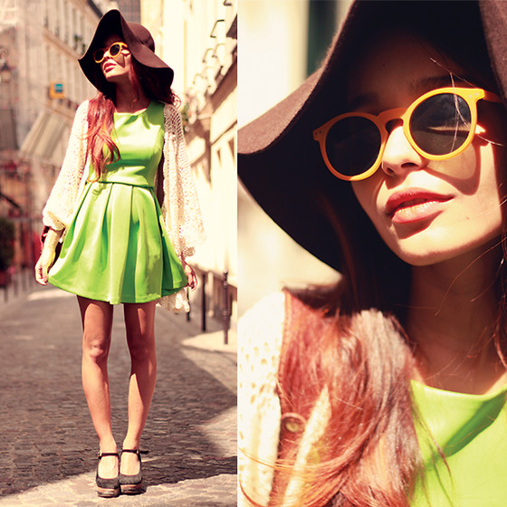 Alana Ruas - Zerouv Sunglasses, Chic Wish Dress, Oasap Floppy Hat - Summer in PARIS.