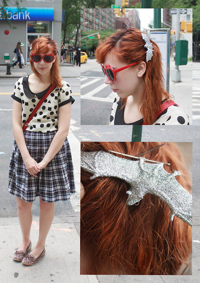 Petite Mädchen - Modcloth Polka Dot And Square Top, Thrifted Plaid School Girl Skirt, Old Navy Leopard Loafers, H&M Apple Sunglasses, Self Made Sparkly Bat Clips - Glitter Bats Tangled in My Hair