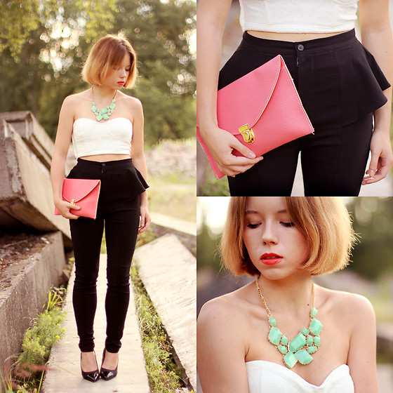 Wioletta Mary Kate - Romwe Top, Lookbook Store Pants, Lookbook Store Clutch, Lookbook Store Necklace - Black, mint, pink