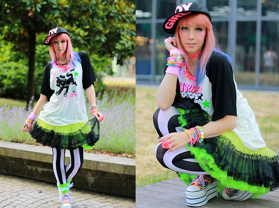 Lunie Chan - Curvys Boy Girl Cap, Claire's Dino Necklace, Listen Flavor Cat In Action Tshirt, Offbrand Tricolor Tutu, Dangerous Nude Green Tutu, Yosuke Colored Platform Shoes, Primark Striped Stockings, Spinns Green Socks - Cat in Action