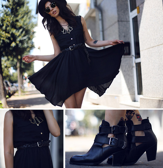 Masha Sedgwick - Sheinside Dress, Sacha Boots, Romwe Necklace - Black summer