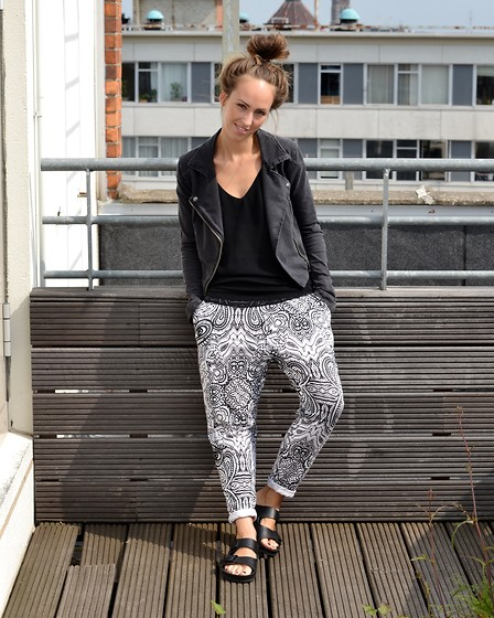 Daphne A. - H&M Cotton Biker Jacket, Monki Geometric Print Pants, Birkenstock All Black Soled Sandals, Zara Loose Fitted Spaghetti Strap Top - ROOFTOP BLACK & WHITE