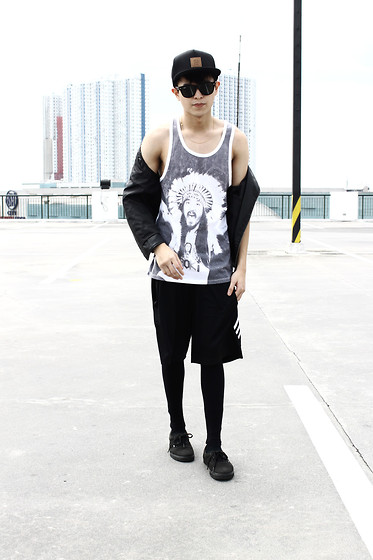 Mikyle Quizon - Brixton Logo, Vans All Black New Era, Adidas White Stripes Shorts, Forever 21 Steve Aoki Tank Top, Forever 21 Leather Vest, Ray Ban Wayfarer - Leather makes everything look so perfect.