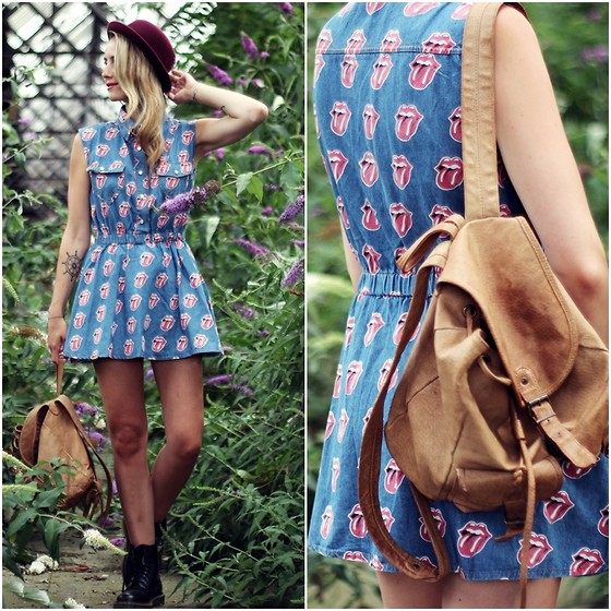 Herz über Kopf - Chicnova Dress, H&M Hat, Dr. Martens Boots, Vintage Backpack - Lips