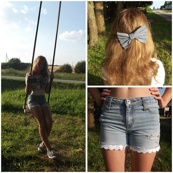 Julija Trumpickaitė - Diy Shorts, Thrift Shop Bow, Second Hand Shirt, Converse Sneakers - Village girl