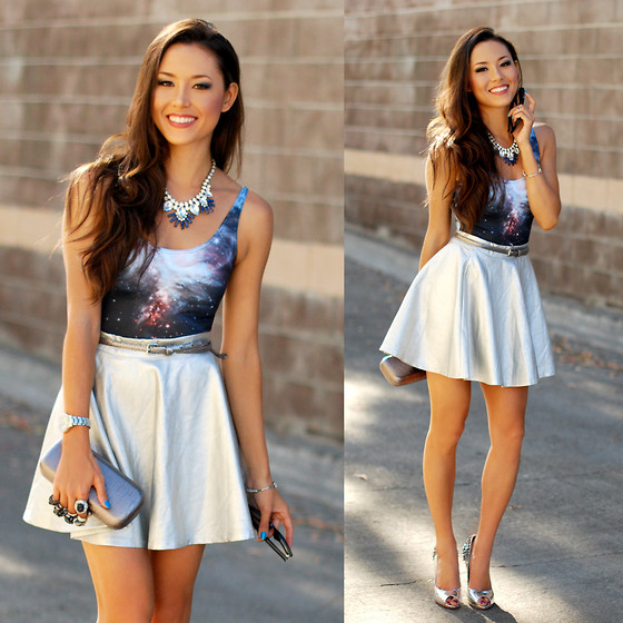Jessica R. - Savous Silver Circle Skirt, Black Milk Clothing Galaxy Swimsuit, Style In Kind Silver And Blue Necklace, Hello Beautiful Arrow Bracelet - Party Perfect