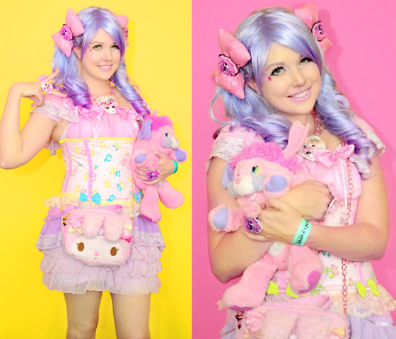 Roxie Sweetheart - Vintage Babydoll Dress, Bodyline Lavender Bloomers, Dreamy Bows My Melody Bag, Roxie Sweetheart Pink Pvc Hair Bows, Vintage Popples Toy, Roxie Sweetheart Kyary Pamyu Pamyu Necklace & Ring, Care Bears Corset - Born in the 80's - Sunday @ Japan Expo, Paris