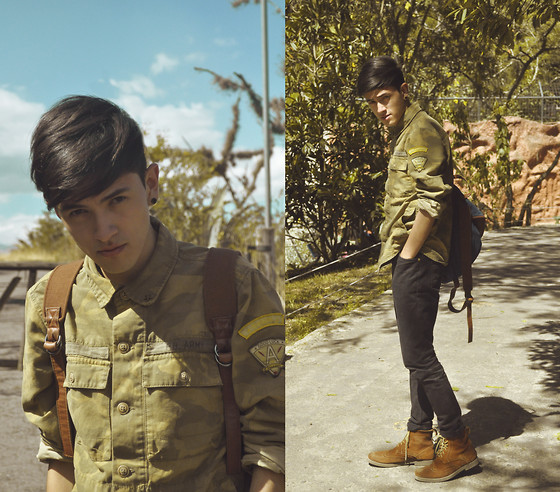 TAto Prado - Pull & Bear Camo Shirt, Bershka Backpack, Levi's® Black Skinny Jeans, Lace Up Boots - Lovesick