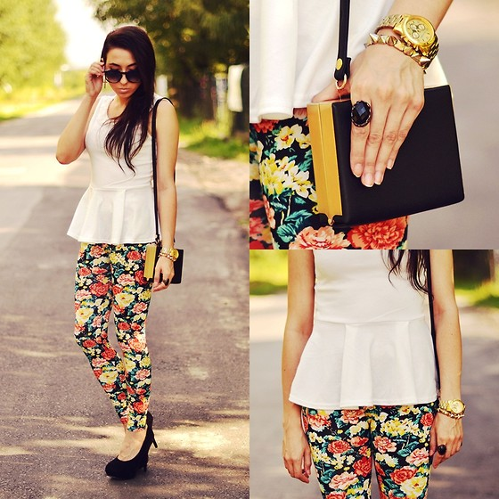 Pam S - Choies Bag, Choies Leggings - Floral leggings & peplum