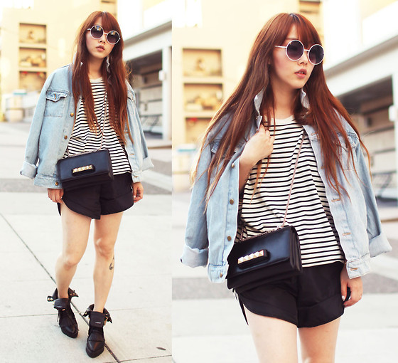 Ivy Xu - American Apparel Jacket, American Apparel Tee, American Apparel Shorts, Alexander Wang Boots - Denim and stripes