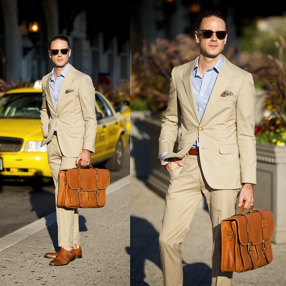 Brian Sacawa - To Boot New York Shoes, Ray Ban Sunglasses, Mab Shirt, Brooks Brothers Suit, Qg Handmade Pocket Round, Allen Edmonds Belt, Korchmar Briefcase - Summer, basically