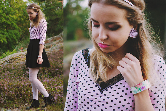 Catarina S. - Bijou Brigitte Earrings, Accessorize Bracelet, Lindex Headband, H&M Top, H&M Skirt, A Gift Lace Tights, Second Hand Shoes - Black & white lace + dots/