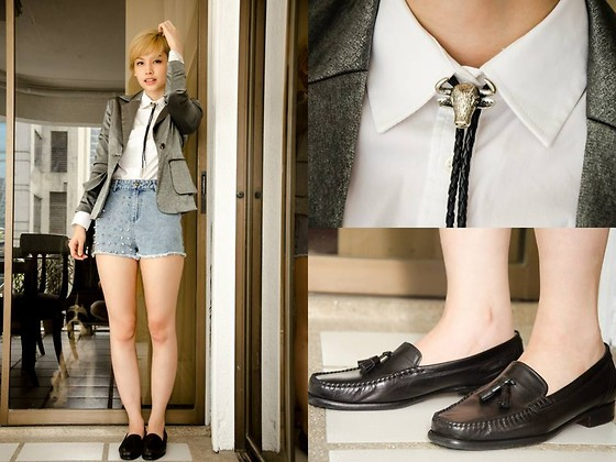 Bea Benedicto - Topman Bolo Tie, Bally Black Penny Loafers, Trunk Show Spiky Shorts, Zara White Shirt - Tamaraw Effects