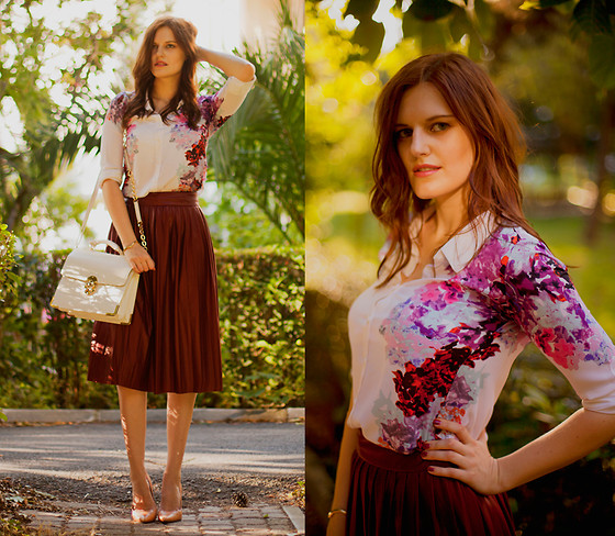 Viktoriya Sener - Zara Skirt, Sheinside Blouse, Forever New Bag, Zara Pumps - VIne skirt & floral blouse