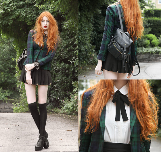 Olivia Emily - Romwe Plaid Blazer, Oasap Tie Neck Blouse, Stelly Pleated Skirt, Oasap Booties, Topshop Backpack - Plaid.