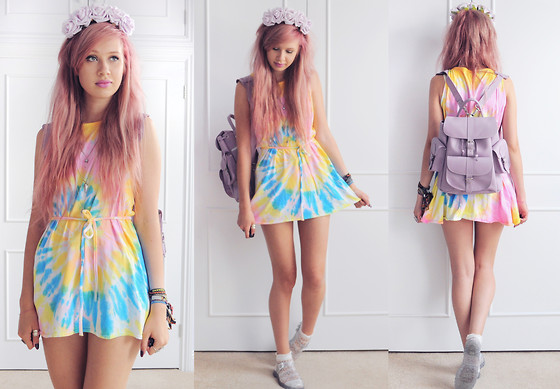 Amy Valentine - Emma Warren Lilac Flower Crown, Cut & Sew Tie Dye Dress, Grafea Lilac Rucksack, Juju Glitter Jelly Shoes - CRYSTAL VISIONS
