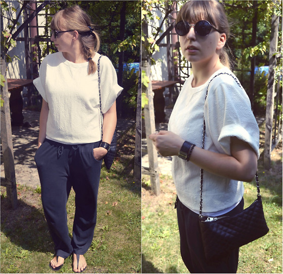 Mary Kate K. - Sonoma Pants, Zara Top, Mango Bag, Calvin Klein Watch, Zara Sunnies - Slouchy Pants Oversized Top and CK Watch