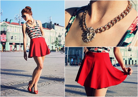 Ewelina Dobosz - Romwe Skirt, Romwe Necklace, Firmoo Glasses, Zara Top - Roses are red