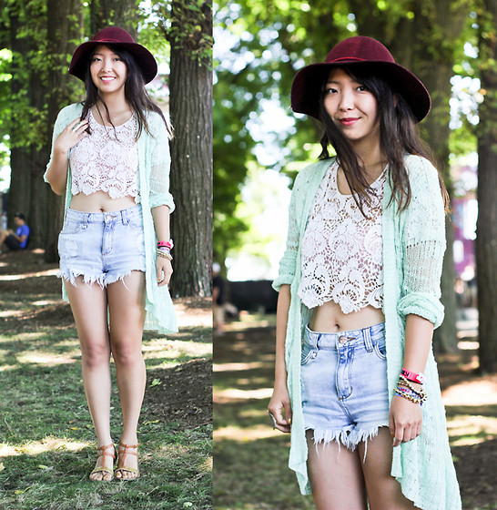 Angie C - Arden B Mint Green Long Open Cardigan, Forever 21 Lace Crochet Crop Top, Divany Distressed Denim High Waisted Shorts - She danced to a rhapsody in Bohemia and found no distress