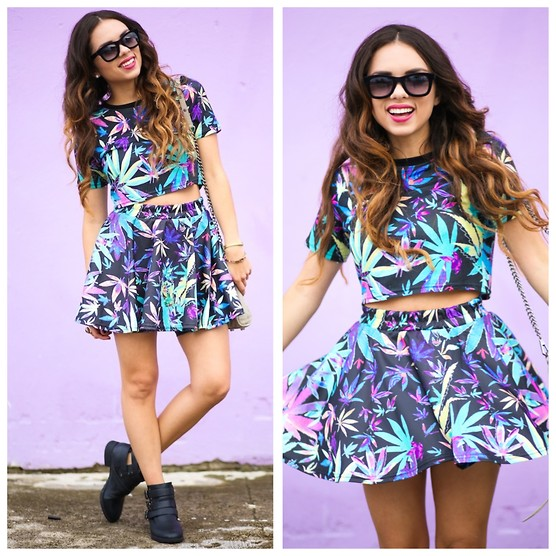 Daniela Ramirez - Romwe Top, Romwe Skirt, Pink And Pepper Boots, Italia Independent Sunglasses - Tropical leaves