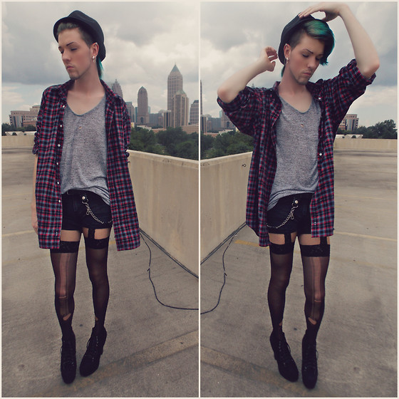 Elliott Alexzander - Black Fedora, Oversized Plaid Shirt, Cut Off Denim Shorts, Black Velvet Lita, Grey Top - Gender Blender