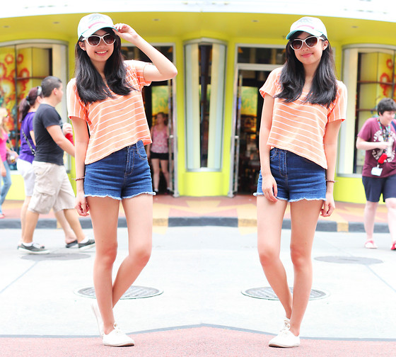 Sophie Ramos - Forever 21 Shorts, Little Nook Striped Cropped Top, Pacsun Cap - Phineas