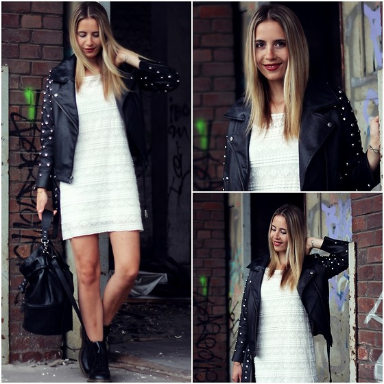 Herz über Kopf - H&M Dress, Asos Leather Jacket, Dr. Martens Boots, H&M Bag - Studded
