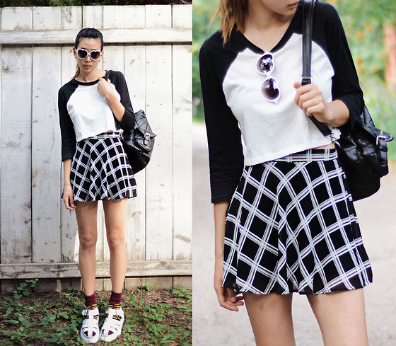 Alyssa Lau - Chic Wish Backpack, Forever 21 Crop Baseball Shirt, Forever 21 Plaid Skirt, Tarte Sunglasses - Back to school with Forever 21