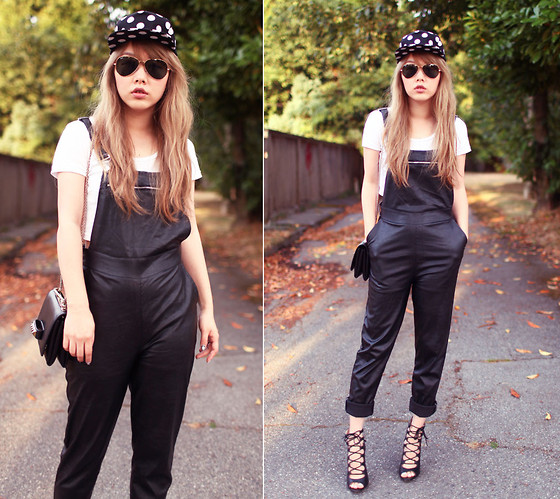 Ivy Xu - Stylenanda Cap, American Apparel Crop Top, Zara Heels, Nasty Gal Overall - New hair and leather overall