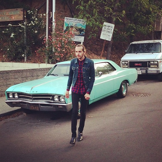 Isaiah Garnica - Saint Laurent Denim Jacket, H&M Plaid Button Up, Levi's® 510 Jeans, Saint Laurent Ankle Boots - Beachwood