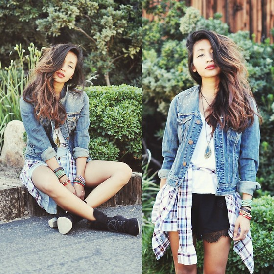Heliely Bermudez - American Eagle Ae Denim Jacket, 2020ave Lace Shorts - Denim + Plaid