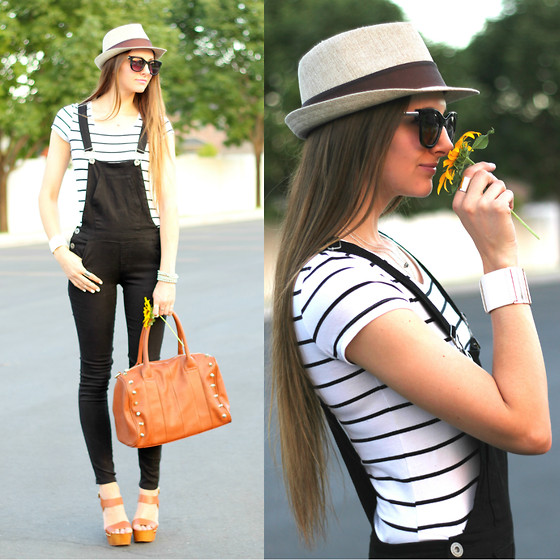 Jackie Welling - Glamorous Black Overalls, Faith Brown Wedges, Nordstrom Brown Bag, Zerouv Sunglasses - Overalls All Over