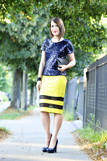 Shiny Syl - H&M Blouse, New Look Skirt - Neon and sequins