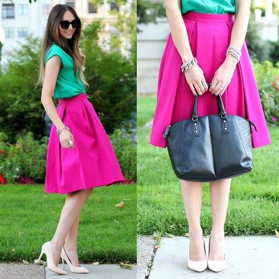 Jackie Welling - Asos Green Top, Topshop Fushcia Skirt, Zerouv Sunglasses, New Look Black Handbag - Berry Berry Bright