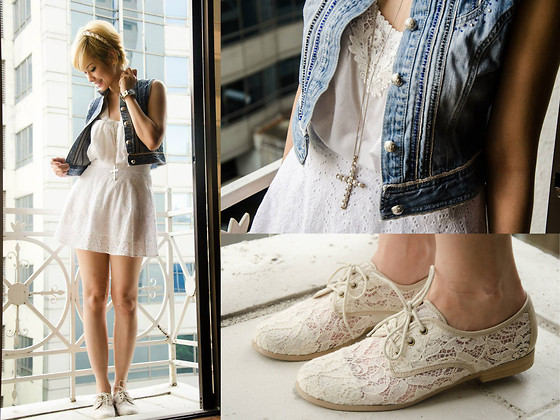 Bea Benedicto - Forever 21 Eyelet Skirt, Schu Lace Shoes - White Lace