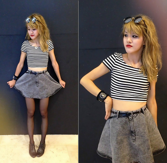 Chanssy X. - H&M Black And White Crop Stripes Top, H&M Denim Miniskirt - ♠ Crop My Mono Stripes ♠