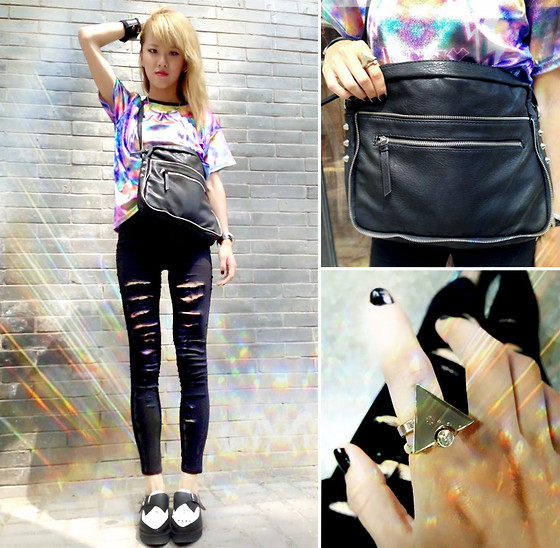 Chanssy X. - Funny Guerrilla Galaxy Tie Dye Printed Tee, H&M Leather Bag, H&M Golden Triangle Ring, Forever 21 Platform Shoes - ▲ Golden Triangle ∧Rocks∨ My Galaxy ▼