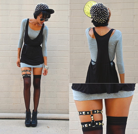 Luna Nova - Etsy Spiked Cap, Black Slouchy Tank, Thrifted Grey Bandage Dress, Diy Studded Garter - My Friend's Got a Girlfriend and he Hates that Bitch!