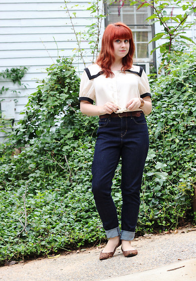 Jamie Rose - Forever 21 Sailor Crop Top, Levi's® High Waisted Jeans, Xhileration Leopard Print Flats - For Freaky Cool Weather