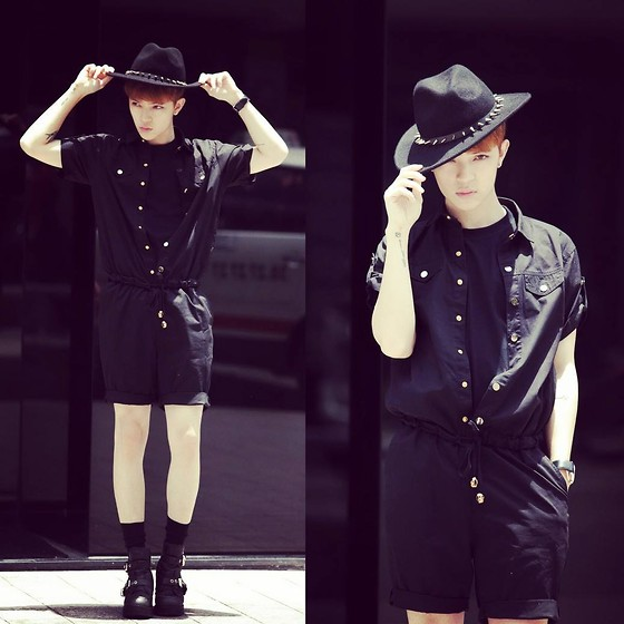 Kelbin Lei - Abdb Hat, 21st Jumpsuit, Jeffrey Campbell Boots - Black is Everything